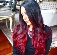 I've decided to change my Ombre hair color this fall. I can't decide which colors to change to. Black with a merlot red ombre Love Hair, Gorgeous Hair, Amazing Hair, Ombre Hair Tutorial, Diy Tutorial, Black Hair Ombre, Burgandy Ombre, Blonde Ombre, Black Hair Burgundy Highlights