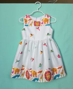 Toddlers girls designer's dress, Tamara Kate for Michael Miller Origami Oasis & Pride  cotton, pink, Aqua, yellow, off white, lined  bodice by The3nicas on Etsy