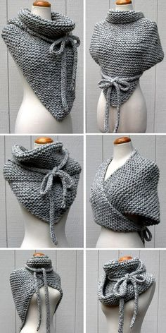 Knitting instructions for Easy Garter Stitch Wrap - Versatile scarf with . - Knitting ideas Knitting pattern for Easy Garter Stitch Wrap - Versatile shawl knit with garter stitch and I-cord ties can be worn in di. Crochet Gratis, Crochet Diy, Unique Crochet, Crochet Shawl, Crochet Ideas, Crochet Scarves, Popular Crochet, Knitting Scarves, Knitted Cowls