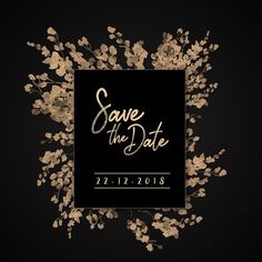 Wedding Save The Date Black Gold Square Invitation Vintage Wedding Invitations, Wedding Invitation Templates, Wedding Frames, Wedding Cards, Wedding Programs, Invitation Card Design, Wedding Save The Dates, Floral Watercolor, Black Gold