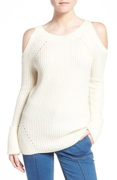 Olivia Palermo + Chelsea28 Ribbed Cold Shoulder Sweater available at #Nordstrom