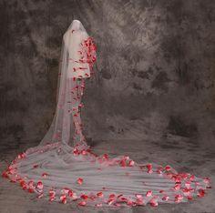 2015 Soft Charming 5 M Long Wedding Bridal Veils Real Made Red Flowers Veil Soft Bridal Head Veils Wedding Accessory