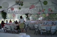 A pink and green bridal shower reception at Country Gardens!