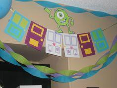 Monsters Inc. birthday party banner door by ThePaperdollPrincess, $22.00