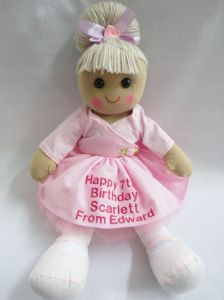 Personalised Rag Doll, any message can be added, style 8 Ballerina