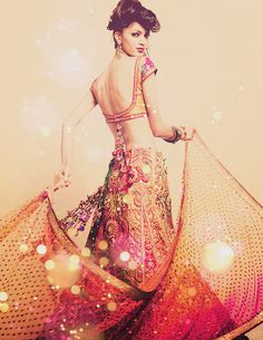 pink and gold lehenga w/ backless blouse