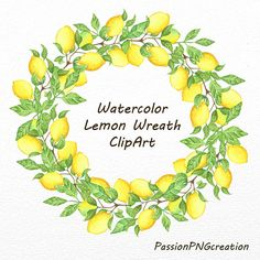 Watercolor Lemon Wreath ClipArt lemon frame by PassionPNGcreation
