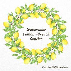 Watercolor Lemon Wreath ClipArt lemon frame by PassionPNGcreation