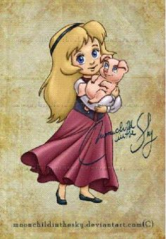 Eilonwy from the movie The Chronicles of Prydain holding a pig as her stuff animal