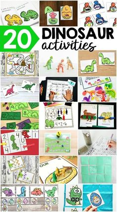 20 different dinosaur printable and hands-on activities for little learners to focus on alphabet, number, fine motor, science, writing, reading, and other early education skills in the classroom and at home!