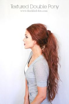 Hair Tutorial ~ Textured Double Ponytail ~ The Freckled Fox. I wish my hair could ever look good at this length.