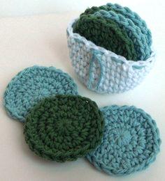 Crochet Scrubbies with Crochet Basket  Set of 7