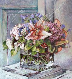 """2010 Oil/canvas From the series """"Moscow-Paris"""" Flowers in the cube Oil Canvas, Cube, Pastel, Watercolor, Artist, Flowers, Painting, Image, Cake"""