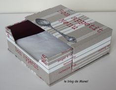 Les cartonnages de Manel / distributeur de serviettes 33x33 Blog, Decorative Boxes, Cartonnage, Sewing Box, Towel Paper, Towels, Notebooks, Blogging, Decorative Storage Boxes