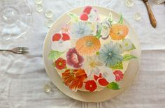 Vellum Vintage Flower Cake DIY from Chiara at Oh Happy Day. I love this.