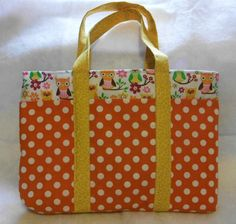"""Orange Owls & Polka Dots"" Tote Bag  - by Dona Reynolds @ sew-whats-new.com #owls #sewing"