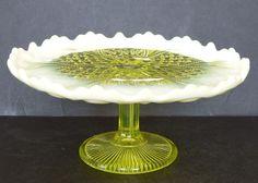 "ANTIQUE DAVIDSON PRIMROSE YELLOW VASELINE PEARLINE GLASS 9"" PEDESTAL CAKE STAND"