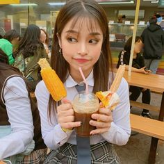 Image may contain: 1 person, eating and food Ulzzang, Eat, Tableware, Image, Food, Girls, Toddler Girls, Dinnerware, Daughters