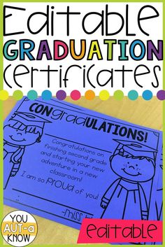 Graduation certificates are the perfect sense of closure for students who are moving between grade levels, schools, or programs. When my second graders leave after 3 years together it is often difficult to have closure. Giving these certificates with a small ceremony of recognition helps us close out or time together in the classroom.