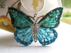 Butterfly Jewelry, Blue Butterfly Necklace, Glass Butterfly, Big Butterfly Necklace