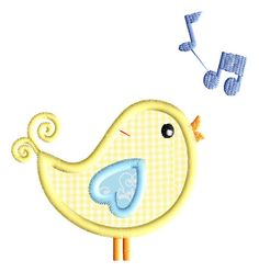 Cute Singing Birdie Embroidery Applique  by AppliqueDownload