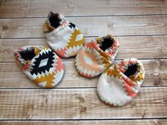 Aztec Baby Shoes Tribal Baby Booties Pink Peach Gold by Cabooties