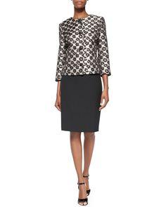 Albert Nipon 3/4-Sleeve Leopard Jacket Skirt Suit