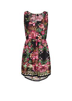 MANGO - Tail hem tropical dress