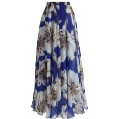 Chicwish Marvelous Floral Maxi Skirt in Blue ($59) ❤ liked on Polyvore featuring skirts, bottoms, chicwish, saias, blue, long floral skirts, blue cami, floral maxi skirt, long maxi skirts and summer skirts
