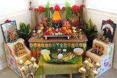 HIndu home pujasthan - place of prayer & ritual ceremony Mandir Decoration, Ganpati Decoration At Home, Ganapati Decoration, Diy Diwali Decorations, Festival Decorations, Flower Decorations, Om Namah Shivaya, Pooja Mandir, Pooja Room Door Design