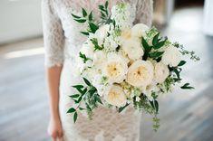 white english garden rose wedding bouquet, romantic style white green wedding bouquet flowers utah florist calie rose www.calierose.com