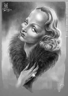 Marlene Dietrich caricature by Marzio Mariani #Celebrity #Caricatures #Oddonkey