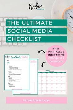 Be more productive and have a clear plan with your social media. This checklist list has daily, weekly and monthly social media tasks and a monthly planner. #socialmedia #socialmediamarketing