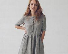 Caitlin King on Etsy Black Linen, Striped Linen, Striped Dress, Dress Name, Linen Dresses, Maternity Dresses, Couture Fashion, Body, Short Sleeve Dresses