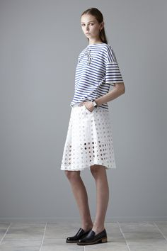 @salasai. Boyfriend Tee Blue Stripe, $125. Dreamcrusher Skirt White Lace, $345. Boyfriend Tee, White Skirts, Blue Stripes, Spring Summer Fashion, White Lace, Lace Skirt, Lady, Tees, Womens Fashion