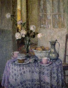 Henri Eugène Augustin le Sidaner, LA TABLE DANS L'INTERIEUR, 1928