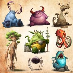 Here you have funny monsters. Each in three phases. I've made them for new board game Cute Monsters Drawings, Funny Monsters, Cartoon Monsters, Cartoon Drawings, Cartoon Art, Monster Concept Art, Alien Concept Art, Character Street Art, Cute Monster Illustration