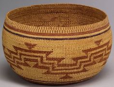 Northern California Polychrome Twined Basketry Bowl, c 1920
