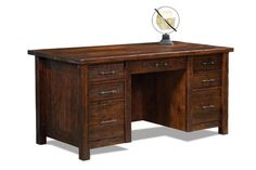 Amish Houston Executive Desk with Finished Backside Rustic executive desk made with solid wood. Choice of finish color and lots of upgrade options like leather writing pad, power station and keyboard pullout.