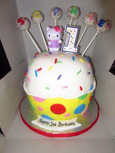 Giant Hello Kitty Cupcake Cake w/ Cupcake Pops.
