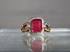 18k Gold Natural Ruby and Diamond Ring Size by DanPickedMinerals