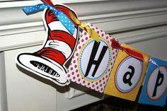 Dr. Seuss Cat in the Hat Inspired Happy Birthday Banner (Red, White, Yellow & Black) by Kidfully Celebrations