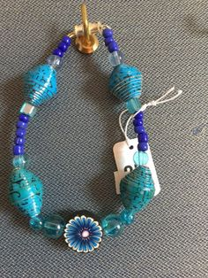 Turquoise and blue paper beaded necklace and bracelet set by Lynepaperartcrochet on Etsy