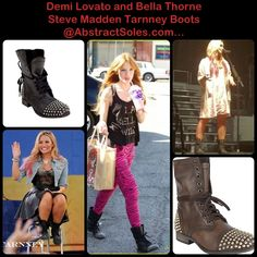 Demi Lovato and Bella Thorne in Steve Madden Tarnney Boots. Available at AbatractSoles.com November 9th