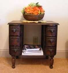 """I love this idea! """"I bought some old sewing machine drawers with the idea of making a small table out of them."""""""