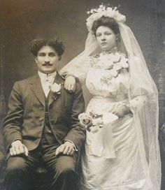 1890's newlyweds. I pinned this more for the groom's hair than anything :)