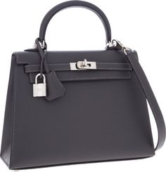 Hermes 25cm Graphite Epsom Leather Sellier Kelly Bag with PalladiumHardware. ...