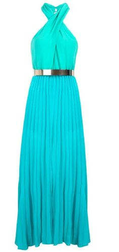 """Greek Holiday"" Long Pleated Blue Maxi Dress"