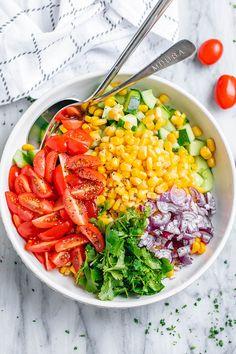 Creamy Corn Salad - - This crowd-pleasing fresh corn salad has amazing fresh flavor! Perfect for Potlucks and BBQs. - : Creamy Corn Salad - - This crowd-pleasing fresh corn salad has amazing fresh flavor! Perfect for Potlucks and BBQs. Healthy Family Meals, Healthy Eating Recipes, Healthy Meal Prep, Healthy Cooking, Healthy Snacks, Best Corn Salad Recipe, Corn Salad Recipes, Corn Salads, Fresh Corn Salad