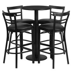 24'' Round Black Laminate Table Set with 4 Ladder Back Barstools - Black Vinyl Seat. No need to buy in pieces, this complete Bar Height Table and Stool set will save you time! This set includes an elegant Black Laminate Table Top, Round Base and 4 Metal Ladder Back Bar Stools. Use this setup in Bars, Banquet Halls, Restaurants, Break Room/Cafeteria Settings or any other social gathering. Mix in Bar Height Tables with standard height tables for a more varied seating selection. This Commercial…